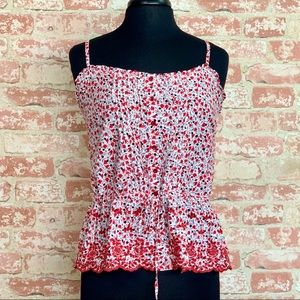 Romy Embroidered Peplum Tie Floral Cami